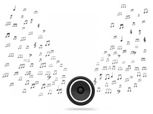 Speaker And Musical Notes Shows Music Audio Or Sound System